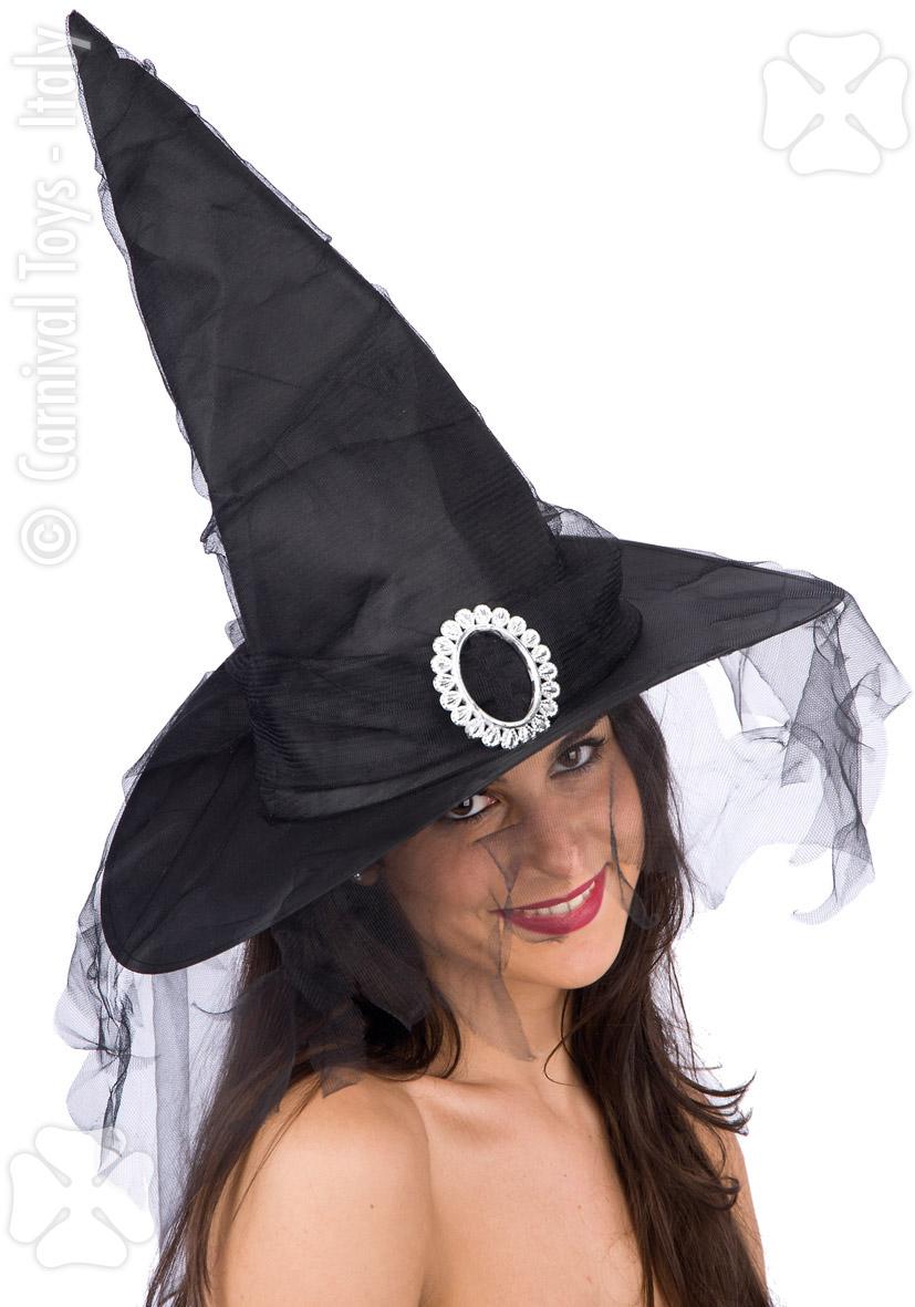 Palarie Halloween vrajitoare cu voal si catarama