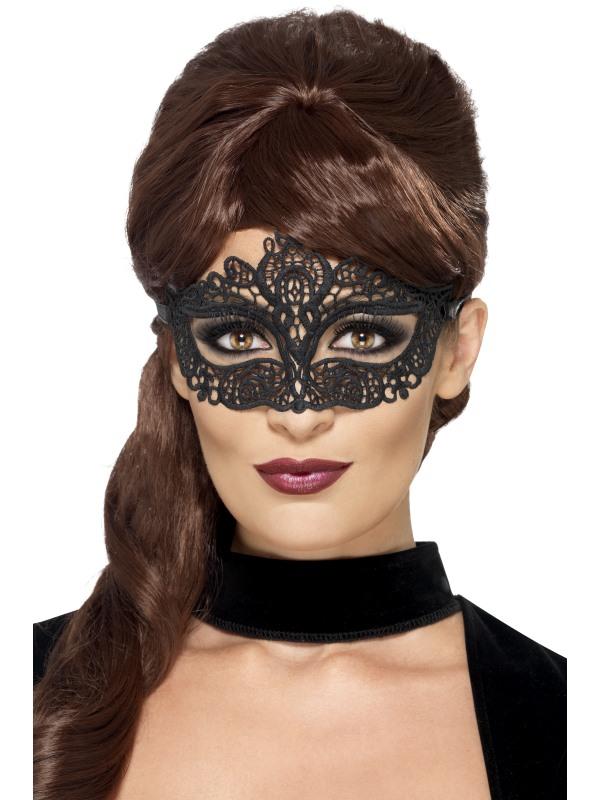 Masca de carnaval cu broderie neagra
