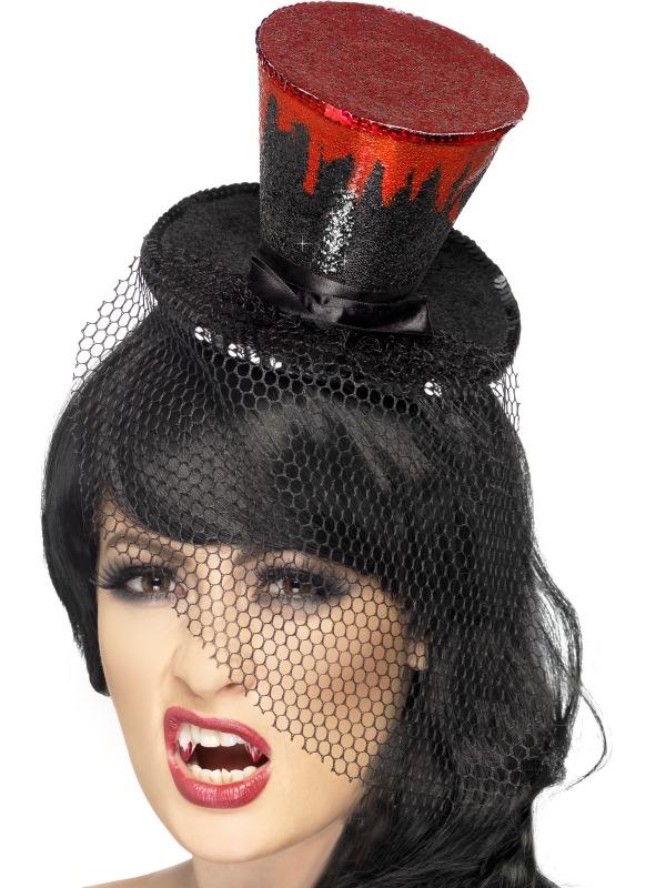 Mini Palarie Halloween Cu Bentita Neagra Insangerata