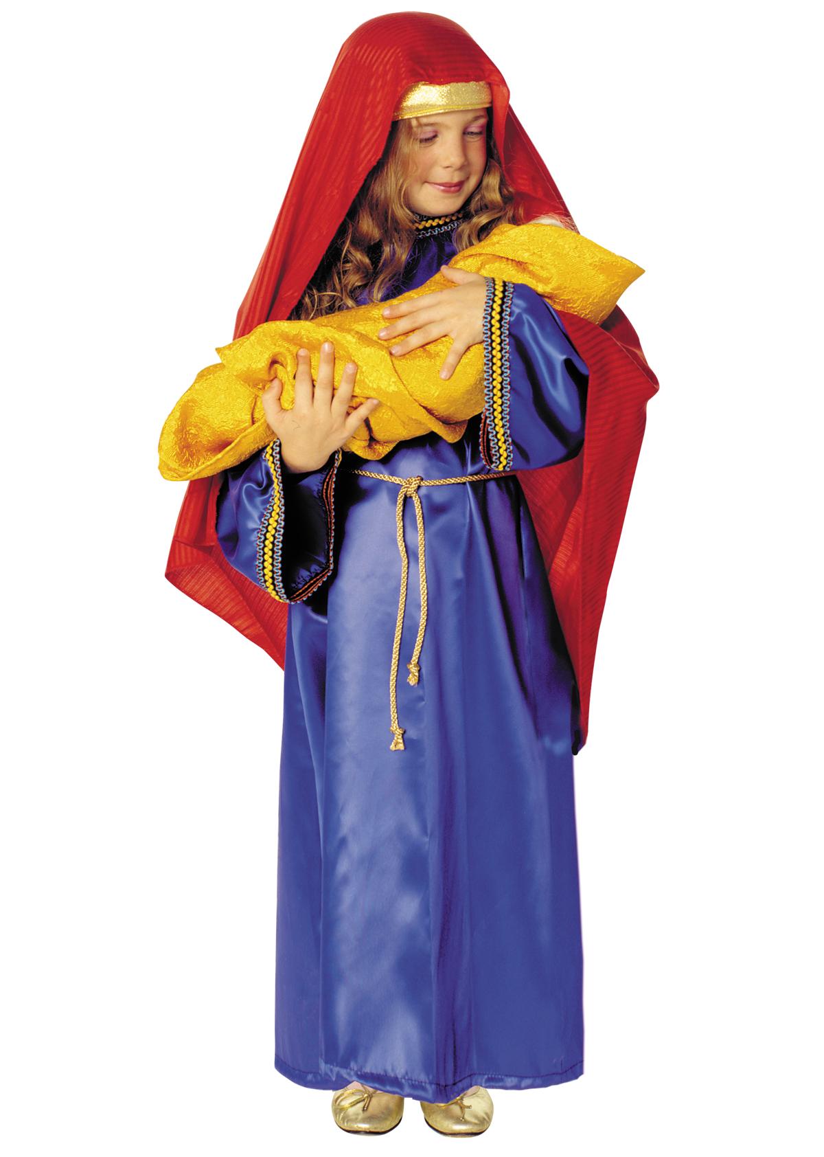 Costum Craciun Copii Fecioara Maria Albastru Cu Rosu