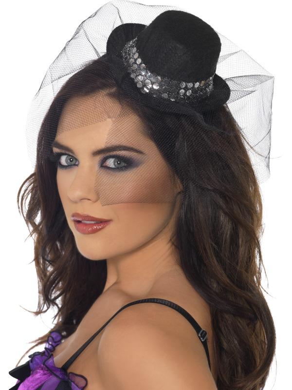 Mini Palarie Halloween Burlesque Neagra Cu Bentita