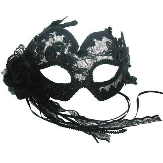 Masca De Carnaval Neagra Cu Dantela Si Broderie