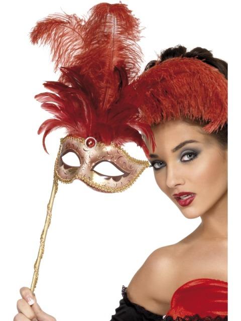 Masca De Carnaval Baroque Fantasy Rosie Pe Bat
