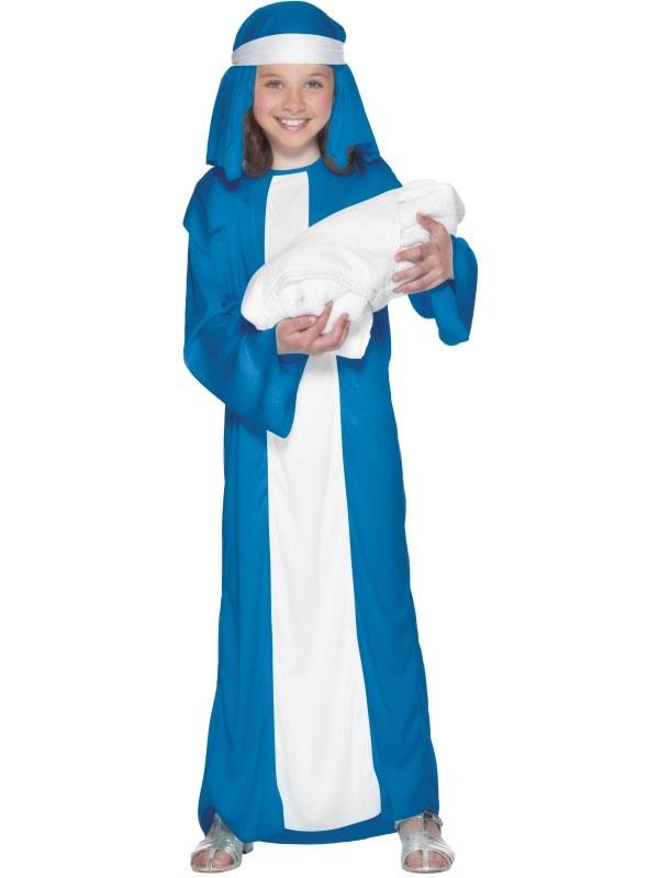 Costum Craciun Copii Fecioara Maria Albastru Cu Alb