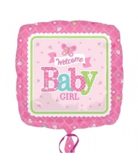 Balon folie patrat WELCOME BABY GIRL