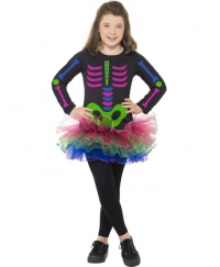 Costum Halloween copii schelet multicolor tutu