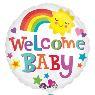 balon-folie-45-cm-welcome-baby-curcubeu
