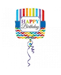 Balon folie 45 cm Happy Birthday Chevron Linii Color