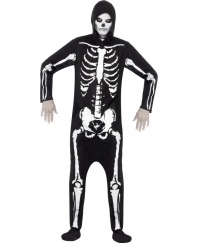 Costum Halloween adulti schelet negru