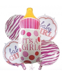 Set baloane folie biberon it's a girl